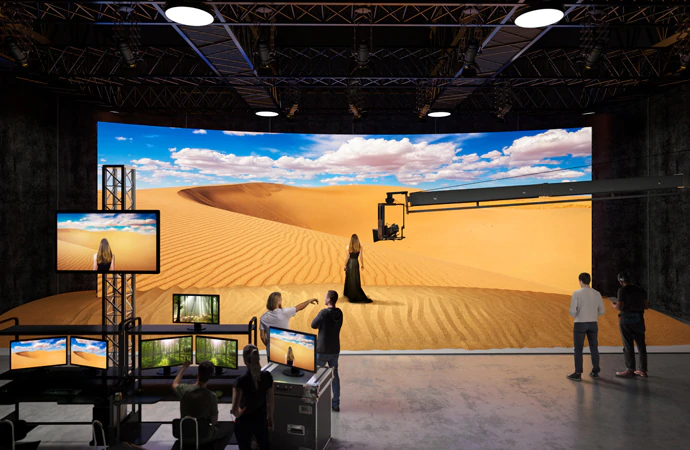 microled screen on commercial studio set