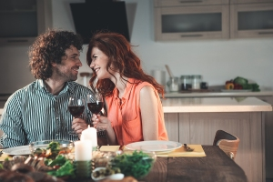 couple having home-cooked meal, date ideas