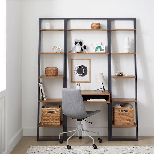 Ladder Shelf Desk & Narrow Bookshelf Setder Desks with Storage