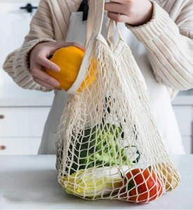 mesh grocery store bags 4-pack, reusable produce bags