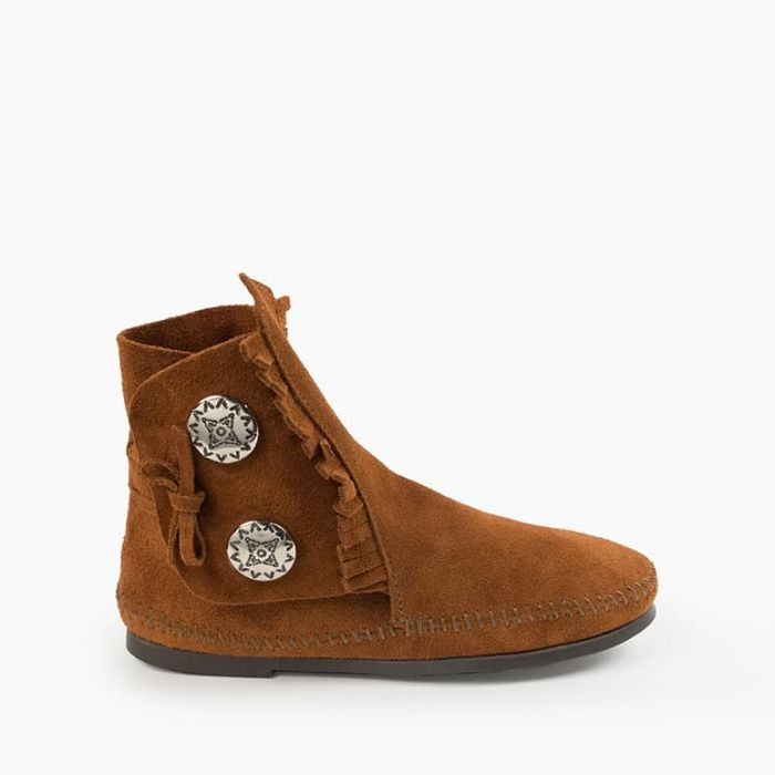 Minnetonka brown suede two button boot