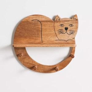 Cat Multi-Hook Wall Shelf