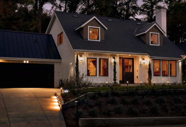 house lit up with smart outdoor