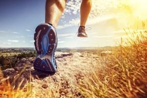 a man running outdoors
