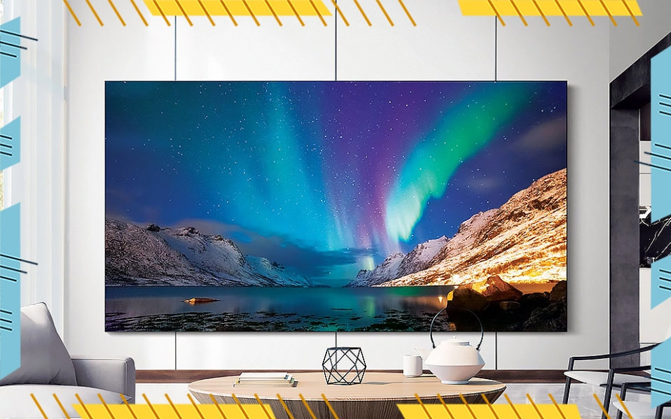 samsung microled tv wall in living