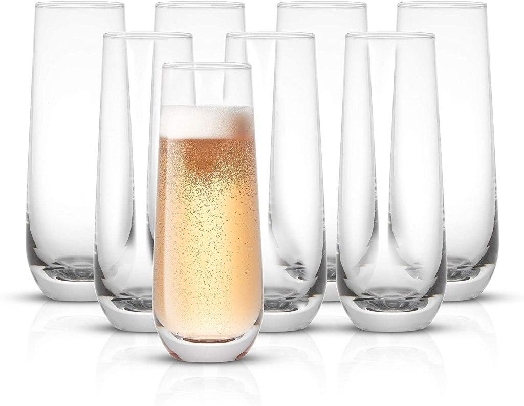 JoyJolt Milo Stemless Champagne Flutes