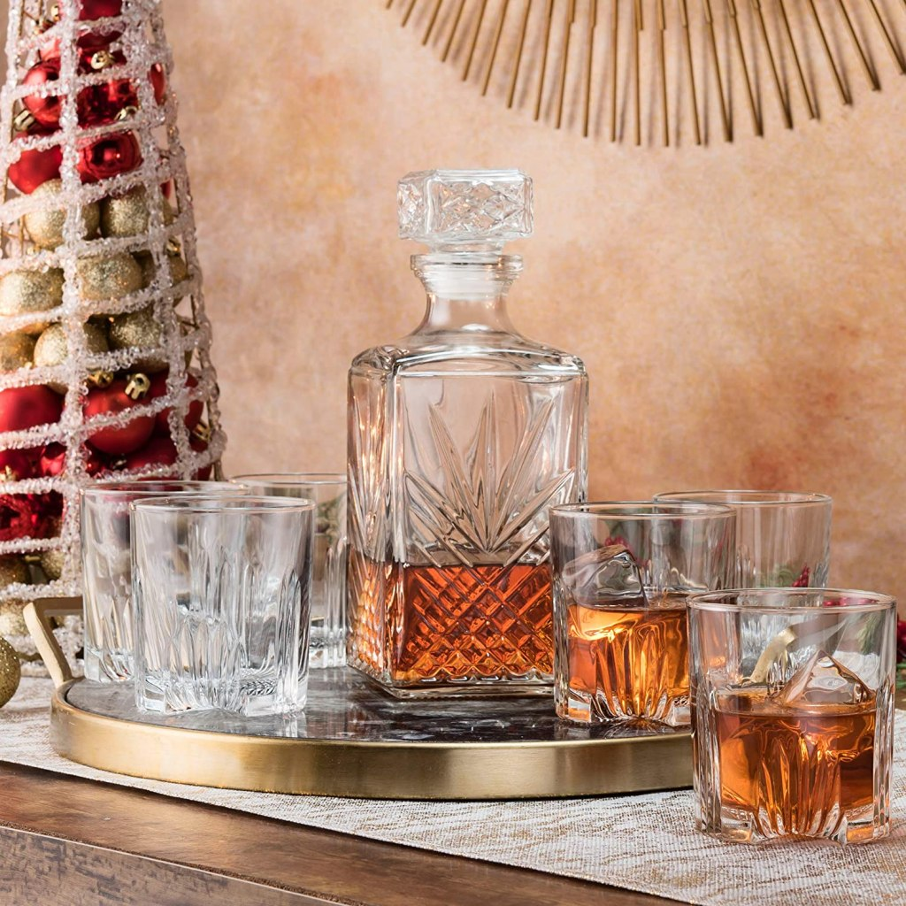 the best whiskey gifts:Paksh Novelty 7-Piece Italian Crafted Glass Decanter & Whisky Glasses Set