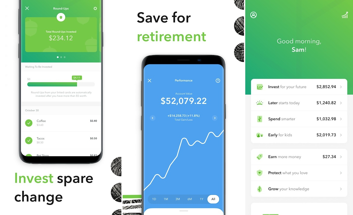 Screenshots of Acorns app, best investment apps, stock investment apps
