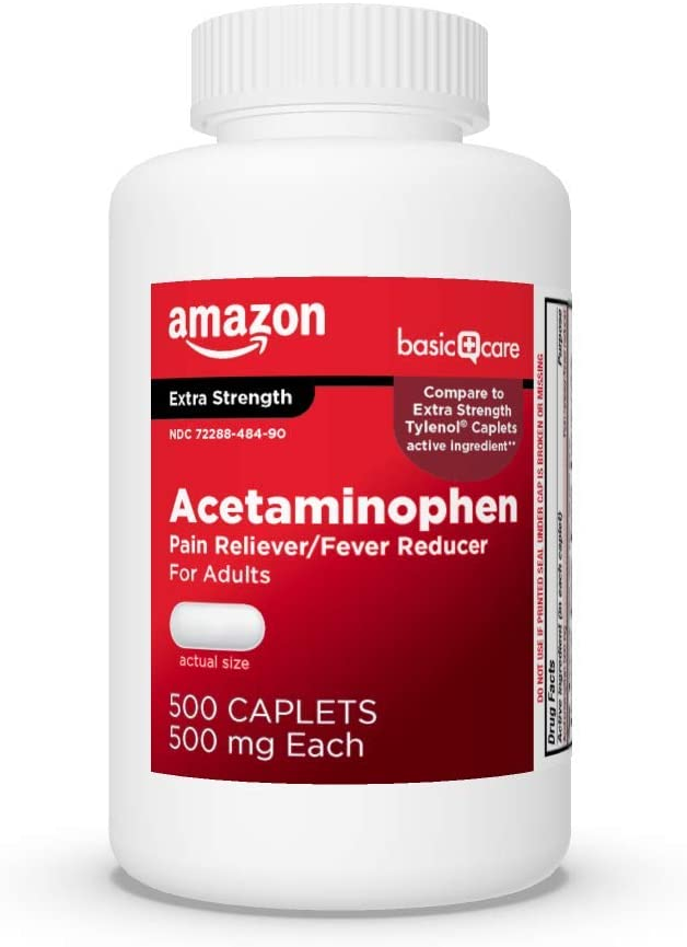Bottle of Amazon Basic Acetaminophen caplets, 500 mg, 500 count