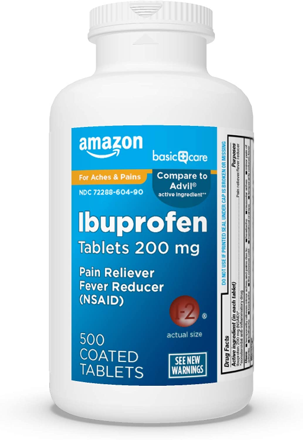 Bottle of Amazon Basic ibuprofen, 200 mg, 500 count