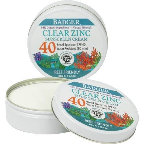 Badger Clear Zinc Sunscreen Cream, SPF 40, best natural sunscreen