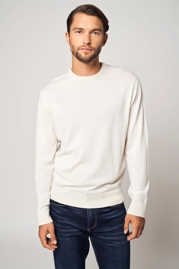Bellemere New York 100% Worsted Cashmere Crew Neck Sweater