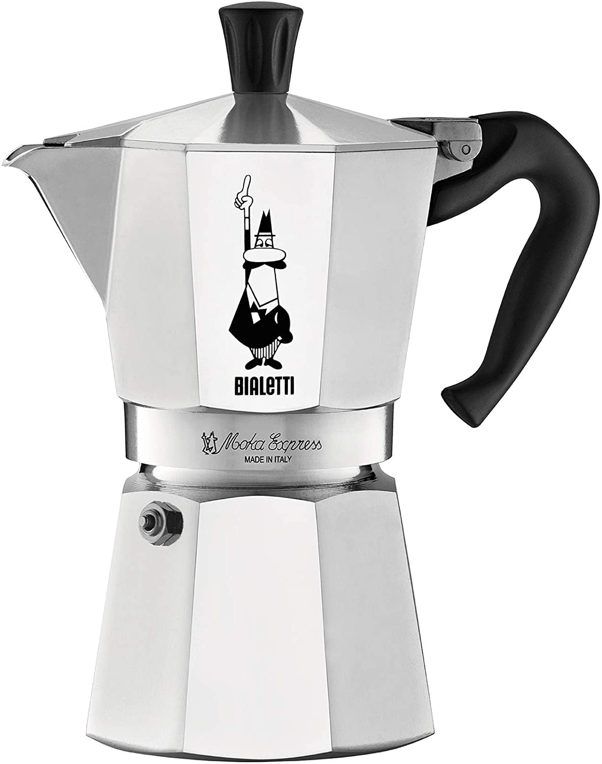 Bialetti Express 6-Cup Moka Pot in silver and aluminum
