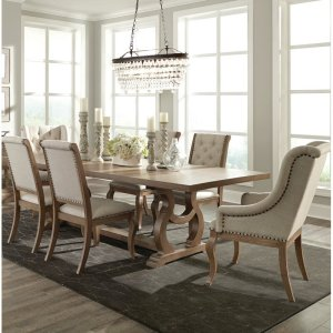 Brockway extendable trestle dining table, expandable dining table