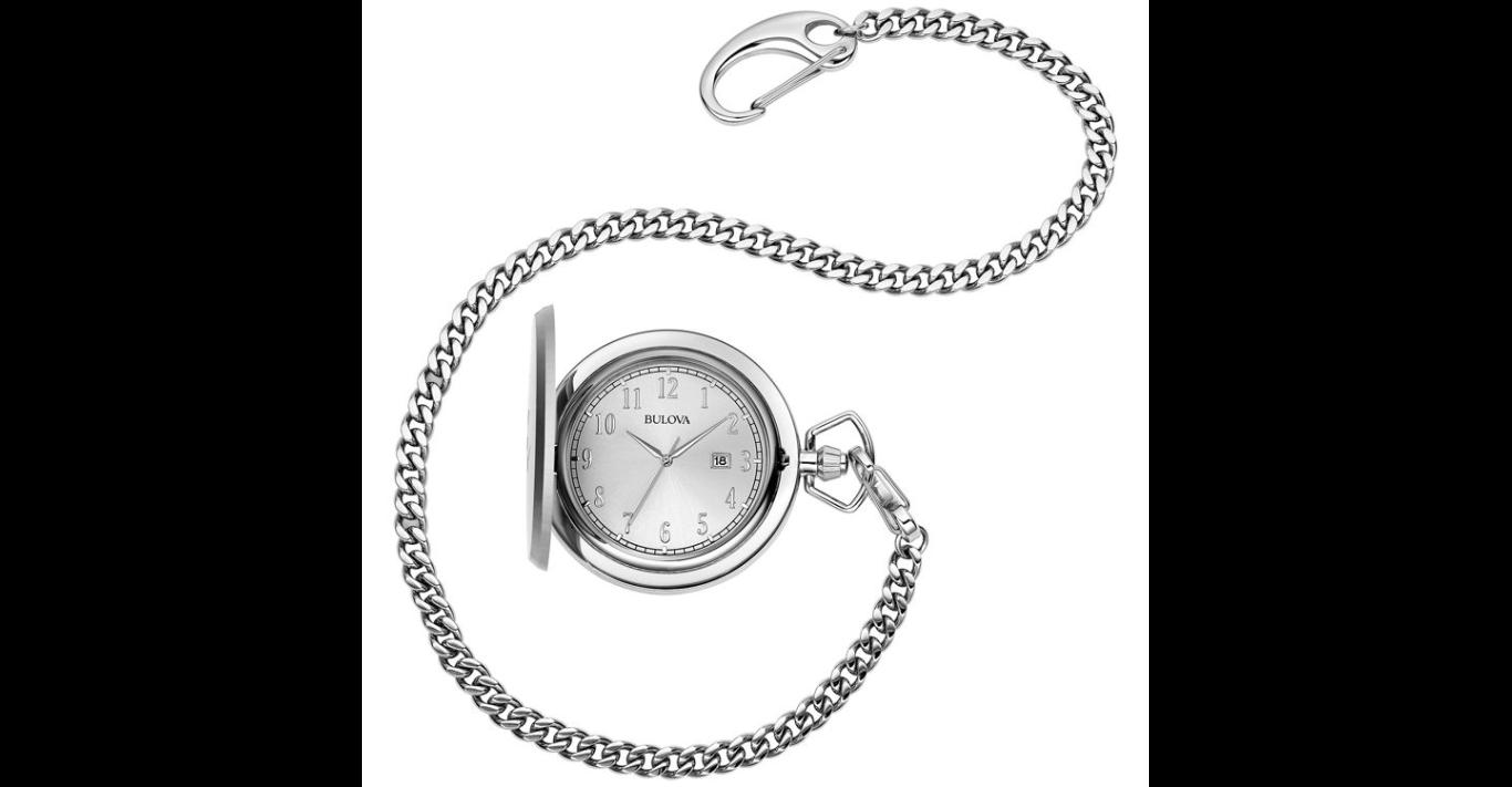 bulova pocket watch with chain