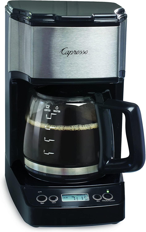 Capress 5-Cup Mini Drip Coffee Maker brewing a pot of coffee