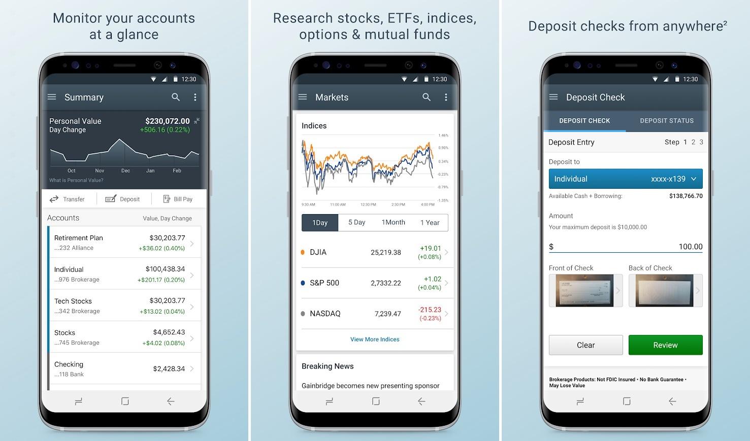 Screenshots of Charles Schwab app