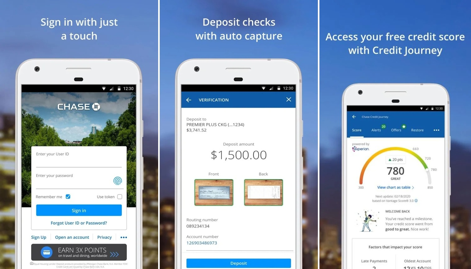 Screenshots of Chase Mobile app