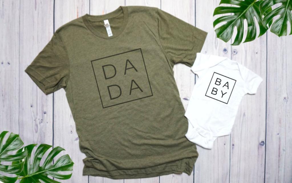 minimalist Dada and Baby matching shirts