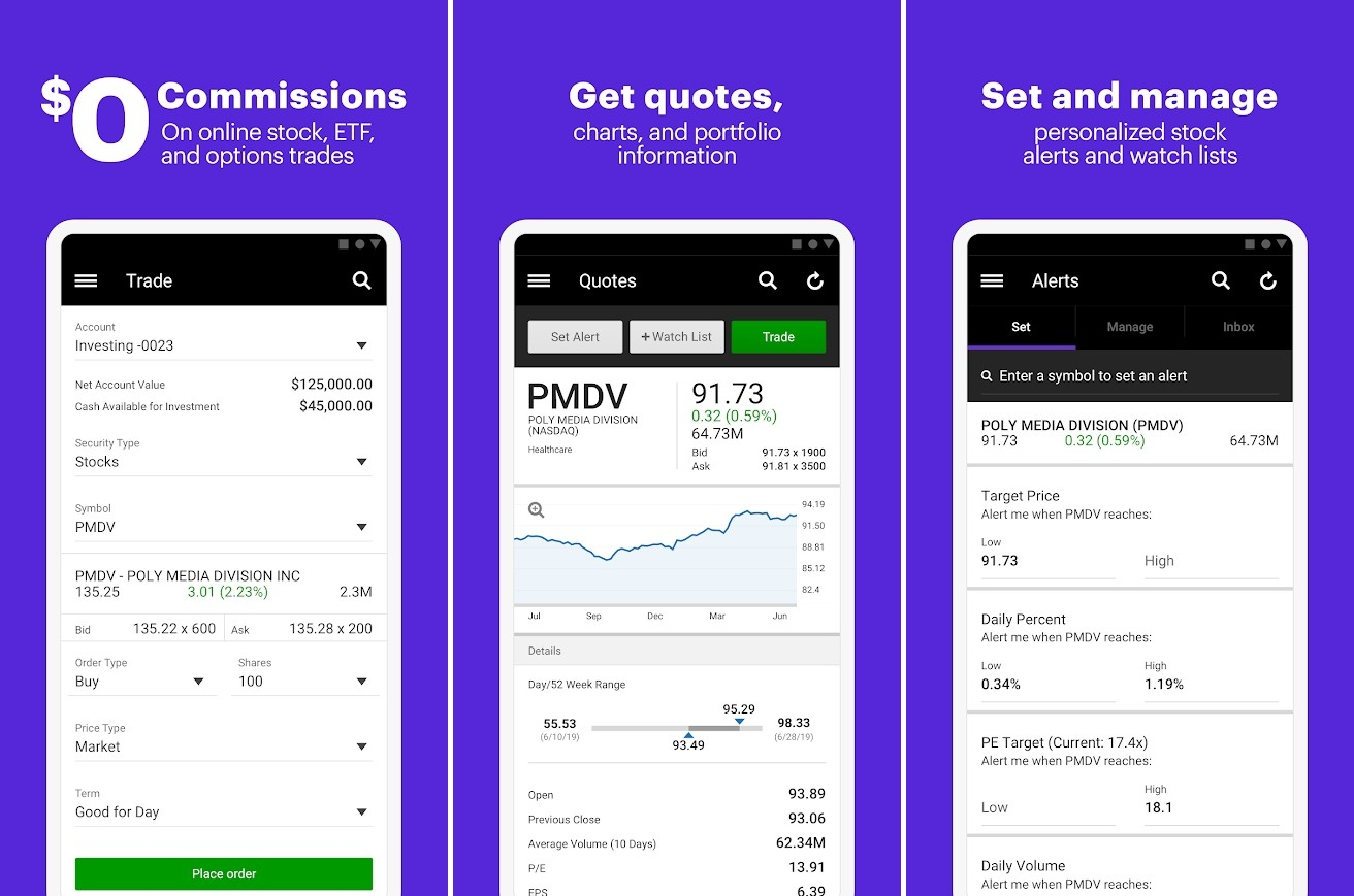 Screenshots of E-Trade app