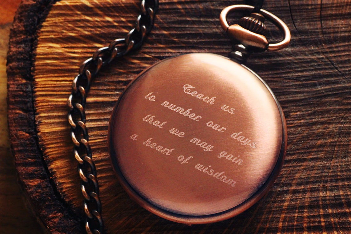 Engraved copper pocket watch
