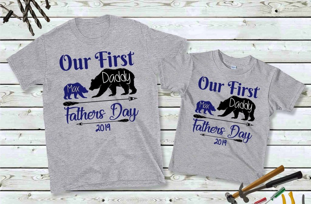 First father's day shirts, Matching father and son shirts