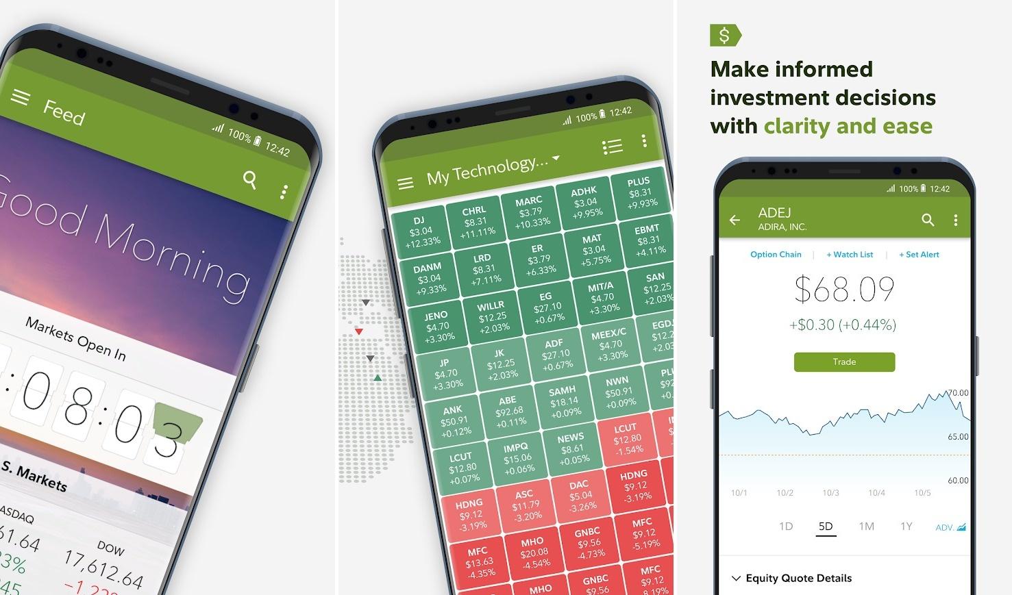 Screenshots of Fidelity app
