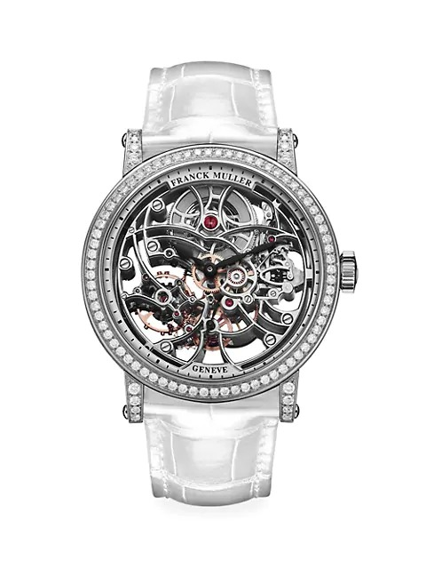 Franck-Muller-Round-Skeleton-White-Gold-Diamond-and-Alligator-Strap-Watch