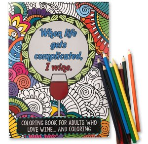 I wine adult coloring book, funny coloring book