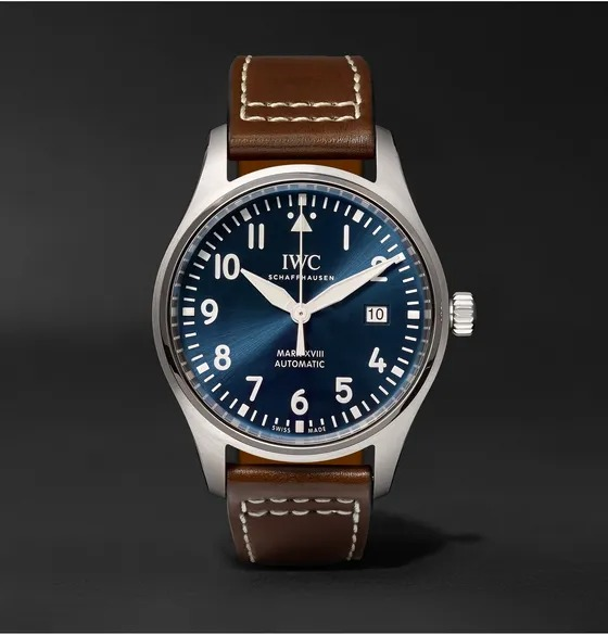 IWC-Schaffhausen-Pilots-Mark-XVIII-Petite-Prince-Edition-Automatic-40mm-Stainless-Steel-and-Leather-Watch-Ref.-No.-IW327004