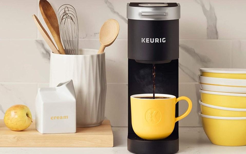 A Keurig K-Mini Coffee Maker on