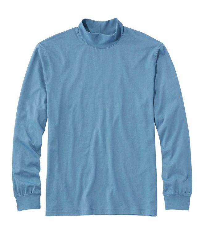 mock neck sweaters men L.L.-Bean-Carefree-Unshrinkable-Mockneck-Shirt