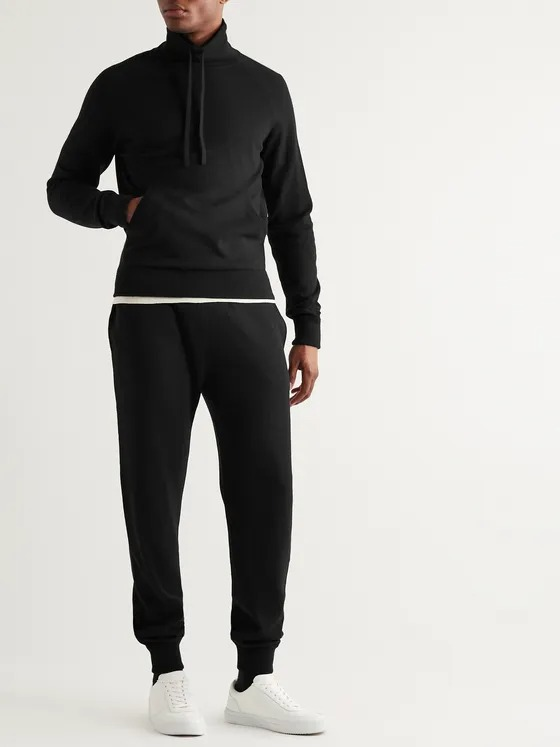 Mock Neck SweaterMr. P Black Wool and Cashmere-Blend Sweater