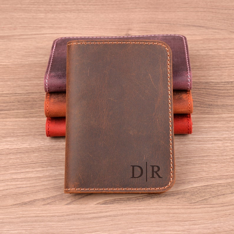 Personalized minimalist leather wallet, personalized gifts for him