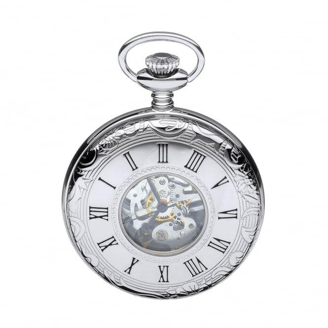 Mount Royal Polished Chrome Mechanical Half Hunter Pocket Watch