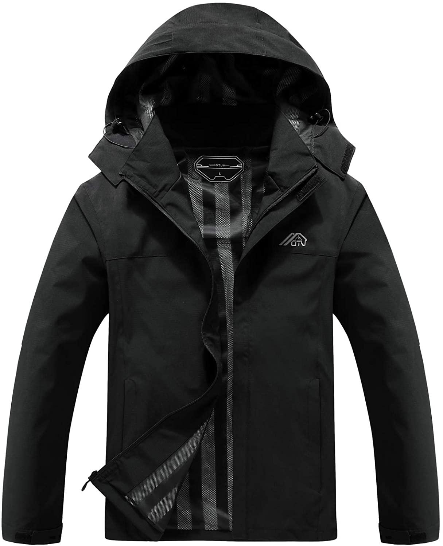 OTU Men's Lightweight Waterproof Hooded Rain Jacket in black