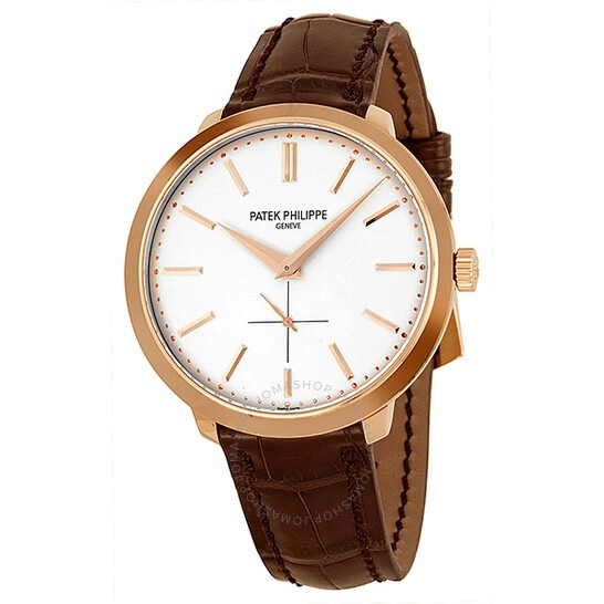 Patek Philippe Calatrava Silver Dial 18k Rose Gold Brown Leather Men's Watch