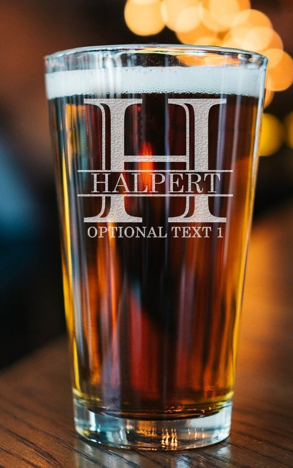 Laser-etched personalized pint glass