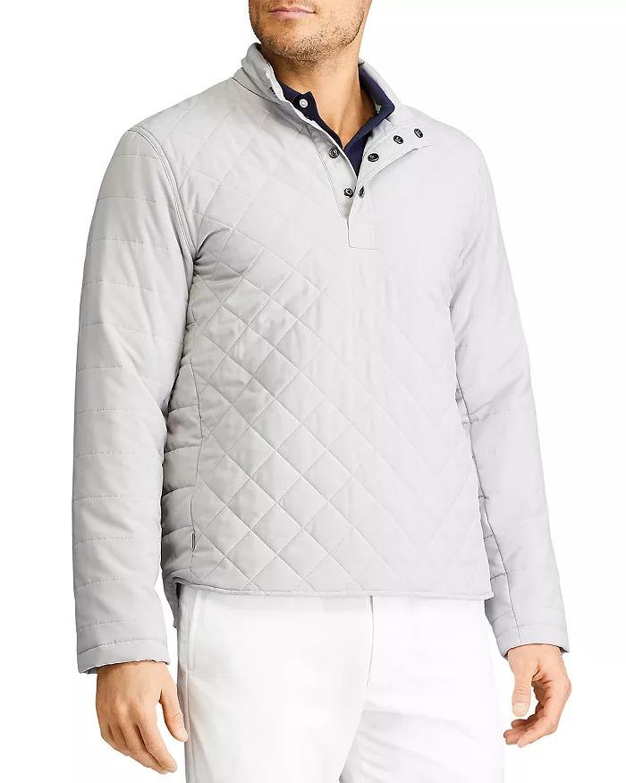 mens mock neck sweaters ralph lauren quilted pullover in gray