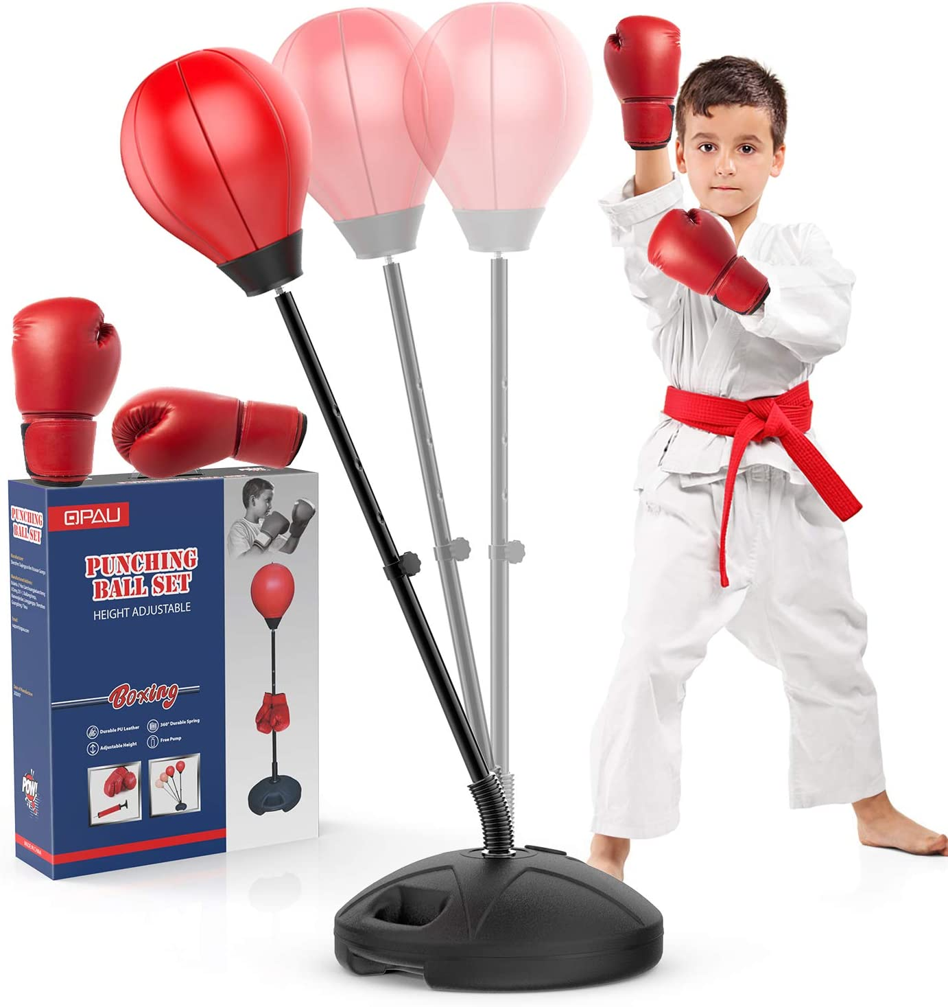 Kid plays with QPAU Standing Punching Bag for Kids