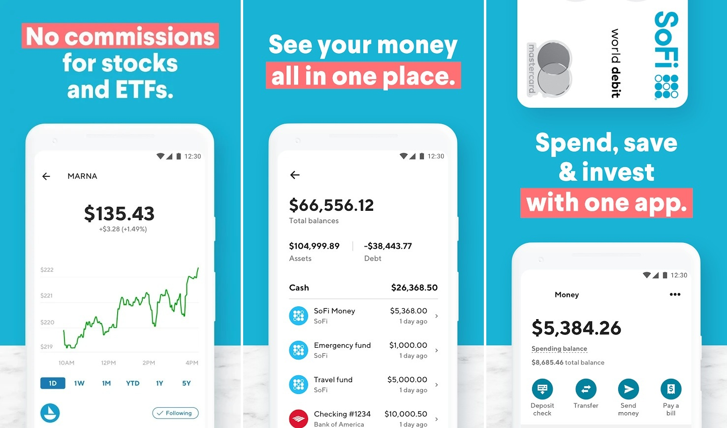Screenshots of Sofi app, best investment apps, stock investment apps