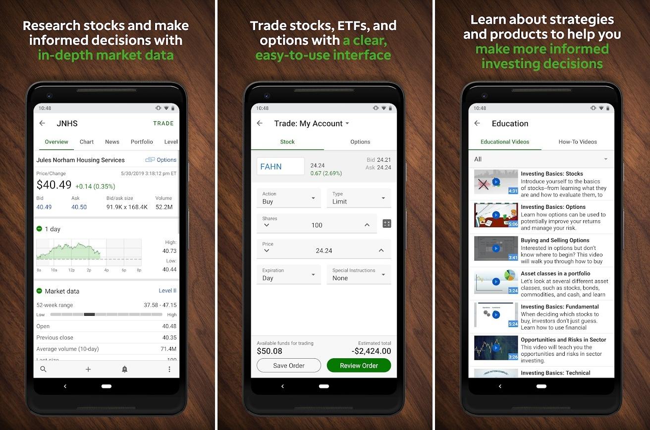Screenshots of TD Ameritrade app