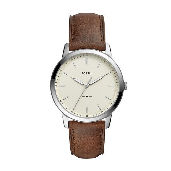 Fossil Men's Minimalist Brown Leather Watch