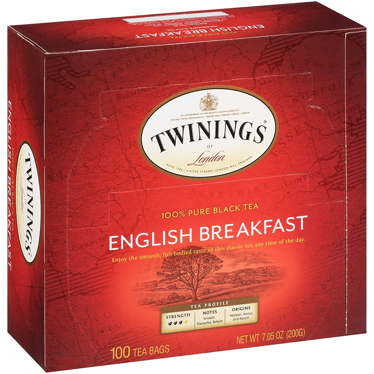 Twinings of London English Breakfast Black Tea Bags box, 100 count