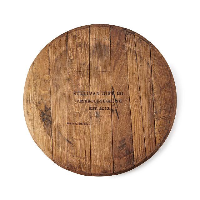 Personalizable bourbon barrell lazy susan