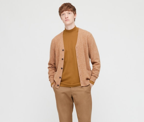 mock neck sweater Uniqlo Soft Touch Mock Neck Long Sleeve T-Shirt rust