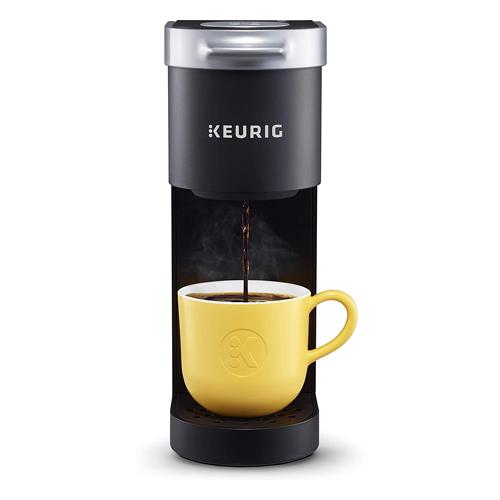 Keurig K-Mini Coffee Maker brewing coffee into a yellow mug, small coffee makers