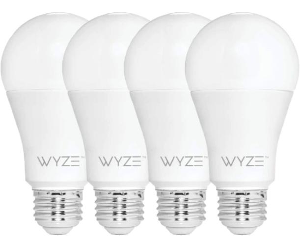 Wyze Bulb 800 Lumen A19 (4-Pack), best smart light bulbs