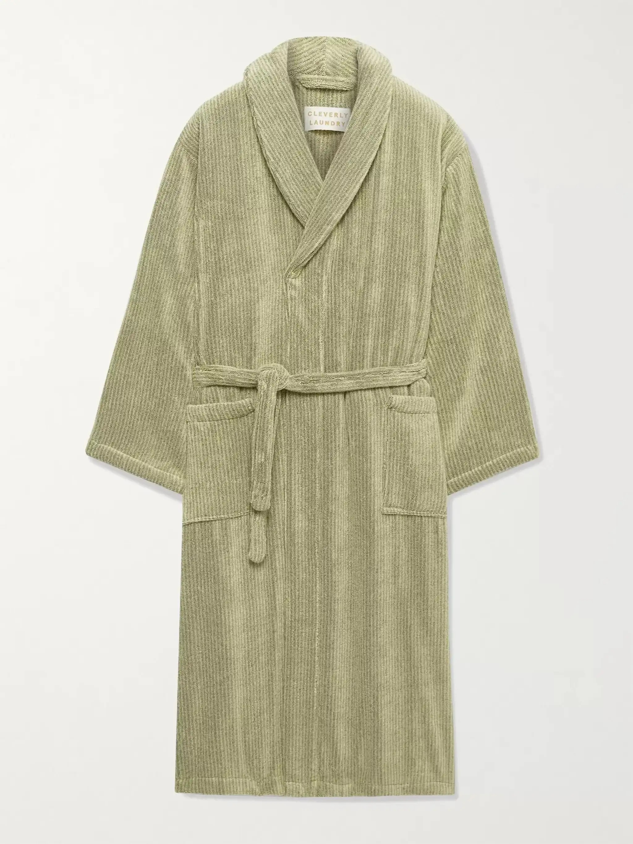 Clevery Laundry Pinstriped Cotton-Terry Robe