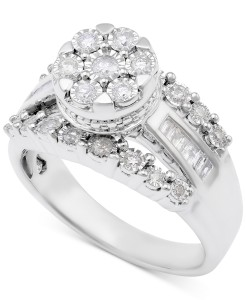 diamond dome cluster promise ring, engagement rings under 1000